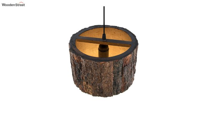 Rustic Wooden Log Hanging Light-4