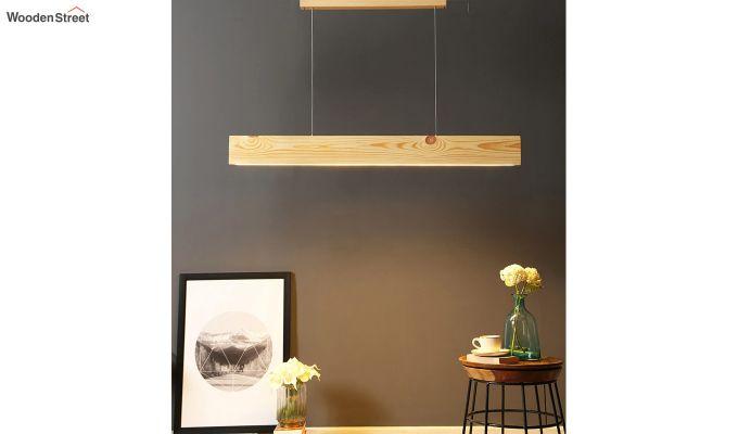 Slimline Beige Wooden 48-inch LED Hanging Lamp-2