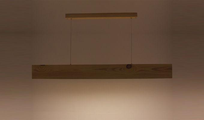 Slimline Beige Wooden 48-inch LED Hanging Lamp-7