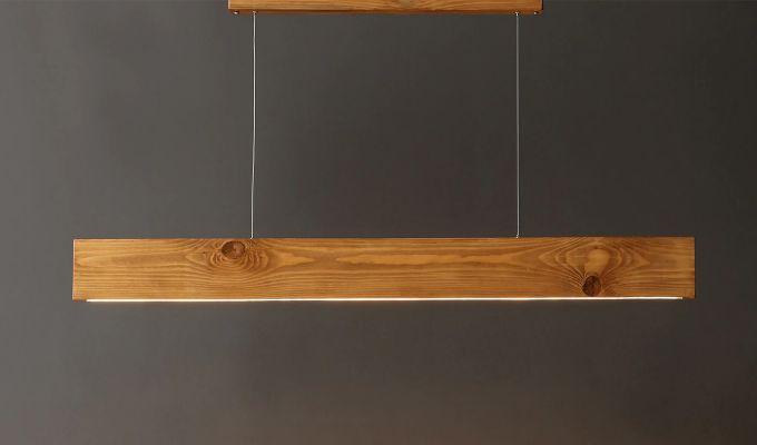 Slimline Brown Wooden 36-inch LED Hanging Lamp-1
