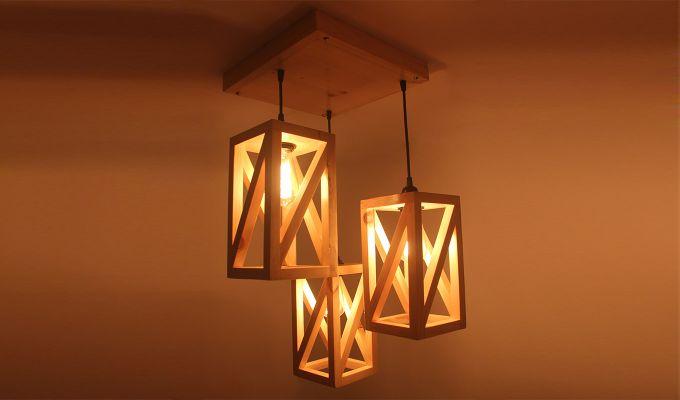 Symmetrical Beige Wooden Cluster Hanging Lamp-1