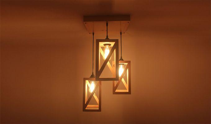 Symmetrical Beige Wooden Cluster Hanging Lamp-3