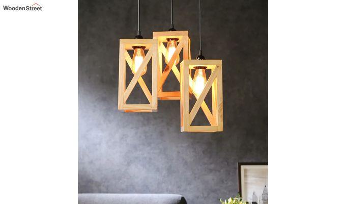 Symmetrical Beige Wooden Cluster Hanging Lamp-2