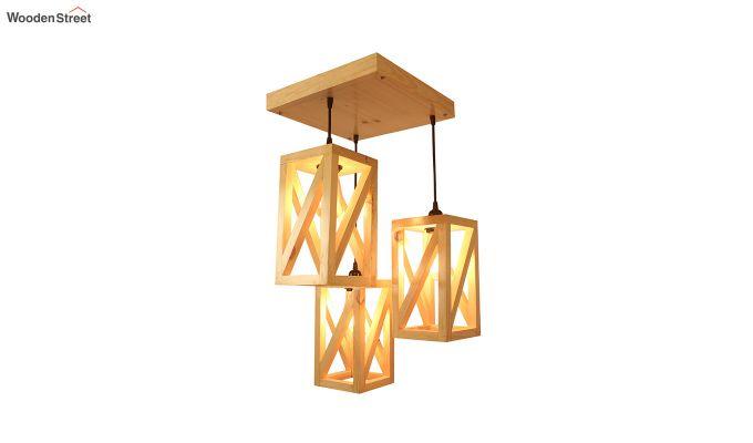 Symmetrical Beige Wooden Cluster Hanging Lamp-4