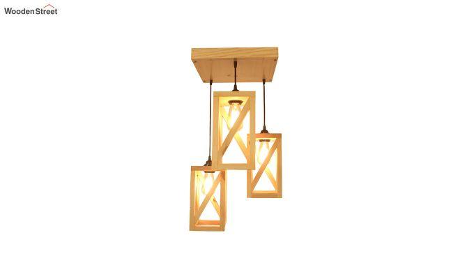 Symmetrical Beige Wooden Cluster Hanging Lamp-5
