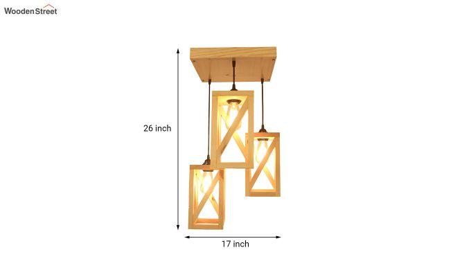 Symmetrical Beige Wooden Cluster Hanging Lamp-6