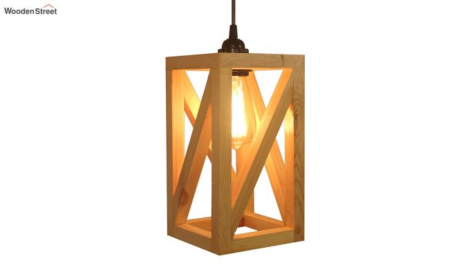 Symmetrical Beige Wooden Hanging Lamp-3