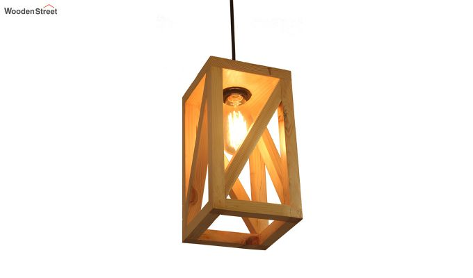 Symmetrical Beige Wooden Hanging Lamp-4
