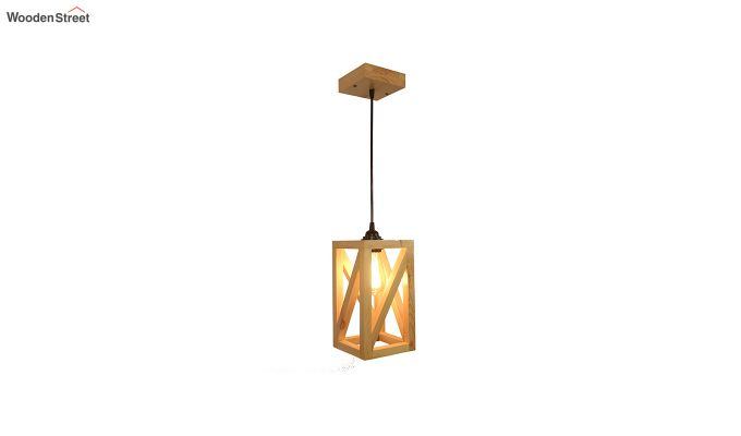 Symmetrical Beige Wooden Hanging Lamp-5