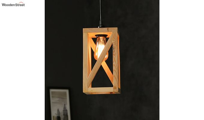 Symmetrical Beige Wooden Hanging Lamp-1
