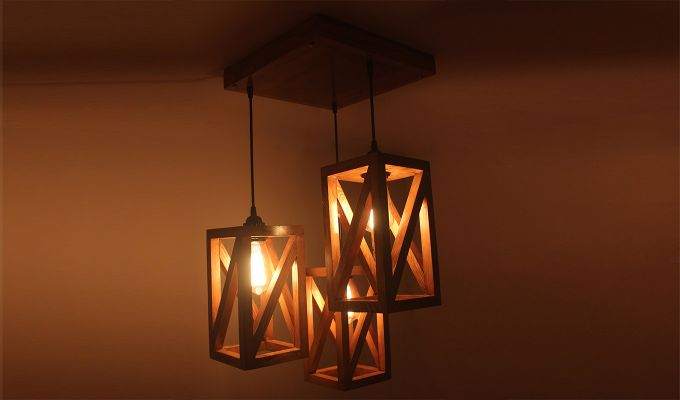 Symmetrical Brown Wooden Cluster Hanging Lamp-1
