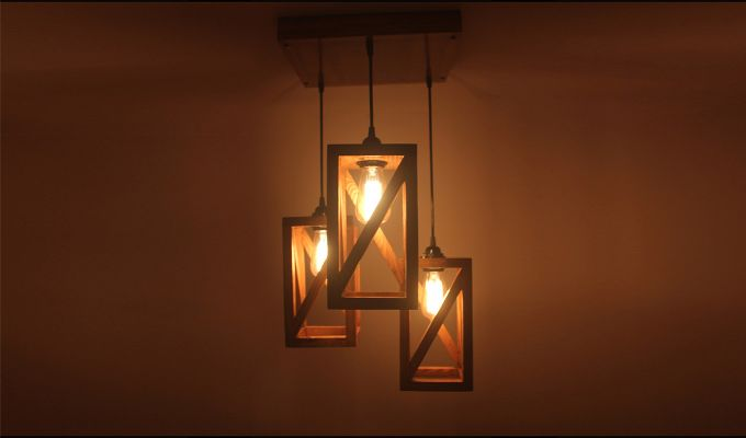 Symmetrical Brown Wooden Cluster Hanging Lamp-2