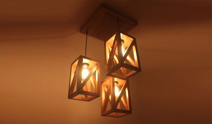 Symmetrical Brown Wooden Cluster Hanging Lamp-3