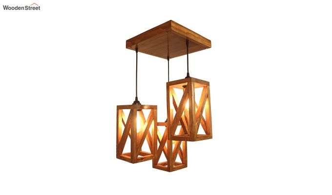 Symmetrical Brown Wooden Cluster Hanging Lamp-4