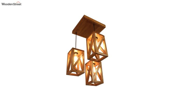 Symmetrical Brown Wooden Cluster Hanging Lamp-5