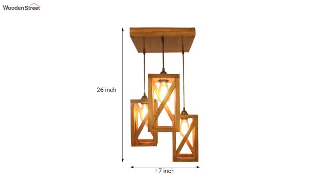 Symmetrical Brown Wooden Cluster Hanging Lamp-6