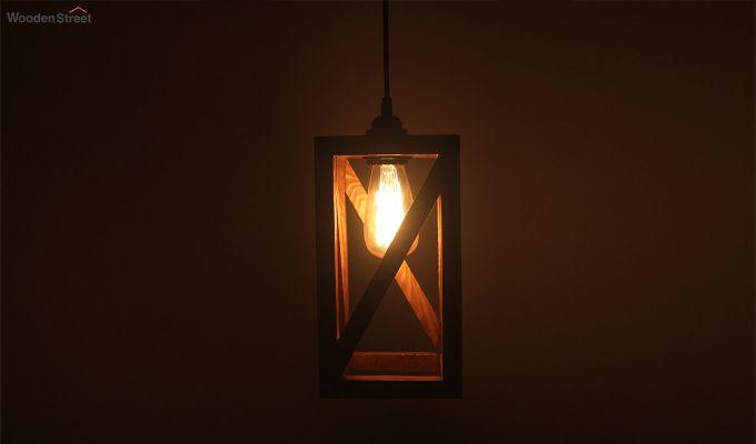 Symmetrical Brown Wooden Hanging Lamp-2