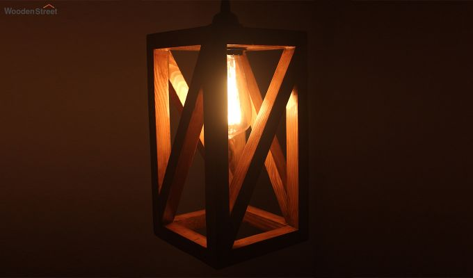 Symmetrical Brown Wooden Hanging Lamp-3