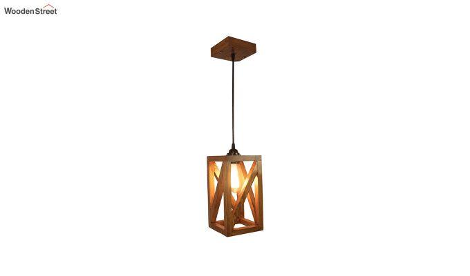 Symmetrical Brown Wooden Hanging Lamp-4