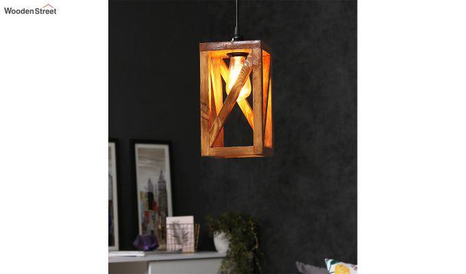 Symmetrical Brown Wooden Hanging Lamp-1