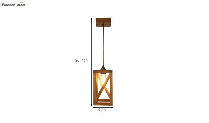 Symmetrical Brown Wooden Hanging Lamp-7