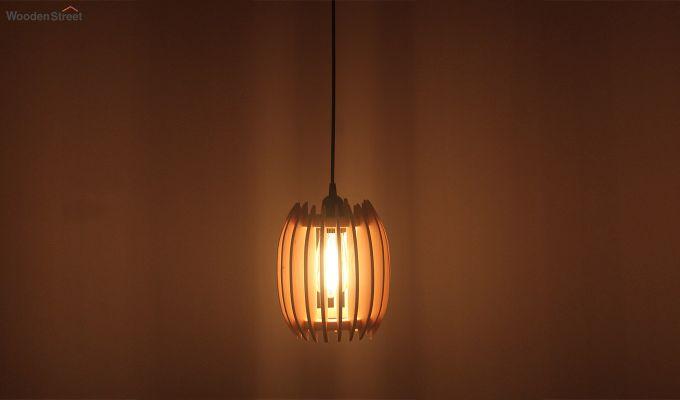 Ventus Beige Wooden Hanging Lamp-1