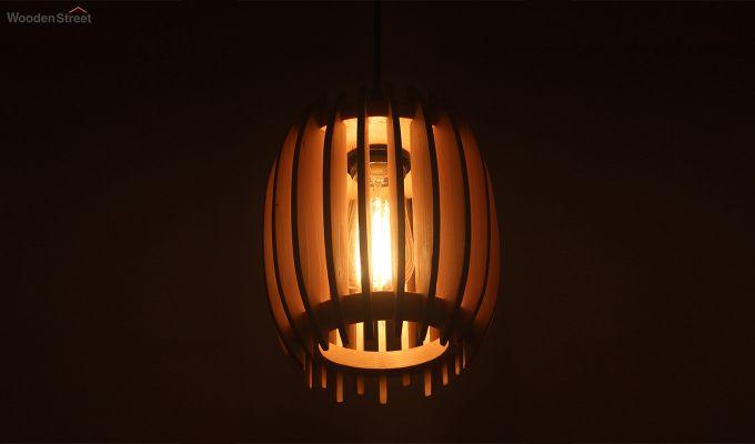 Ventus Beige Wooden Hanging Lamp-2