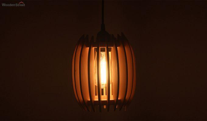 Ventus Beige Wooden Hanging Lamp-3