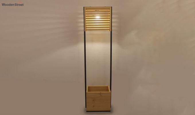 Auroville Beige Wooden and Metal Floor Lamp-1