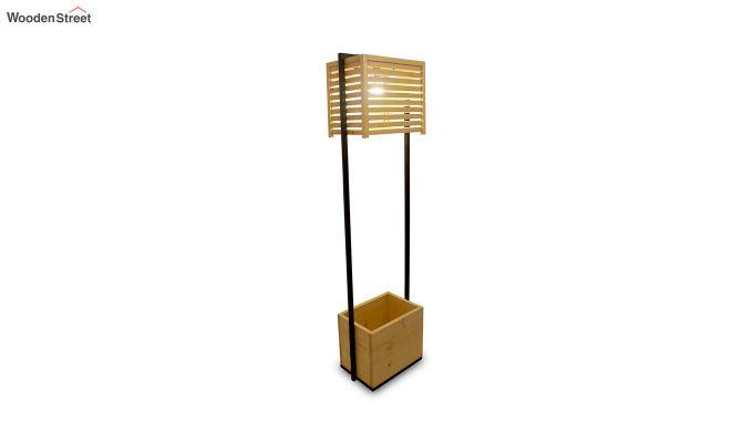 Auroville Beige Wooden and Metal Floor Lamp-3