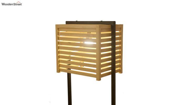 Auroville Beige Wooden and Metal Floor Lamp-5