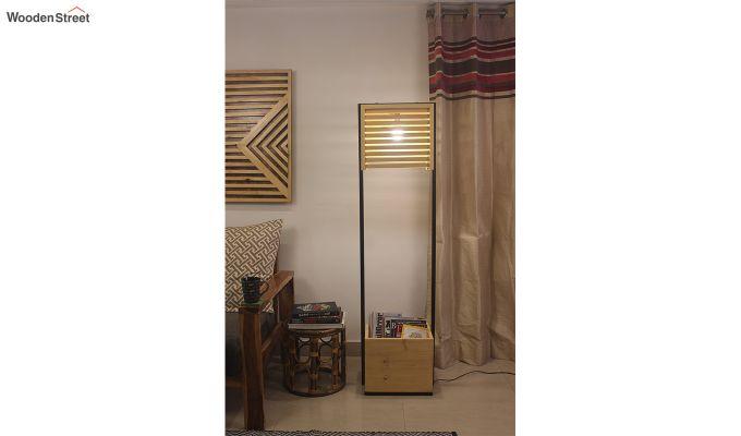 Auroville Beige Wooden and Metal Floor Lamp-2