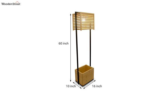 Auroville Beige Wooden and Metal Floor Lamp-7