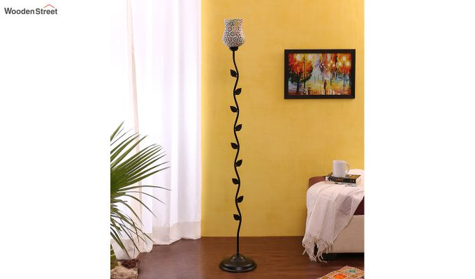 Beanstalk Flower Shell Glass Floor Lamp-2