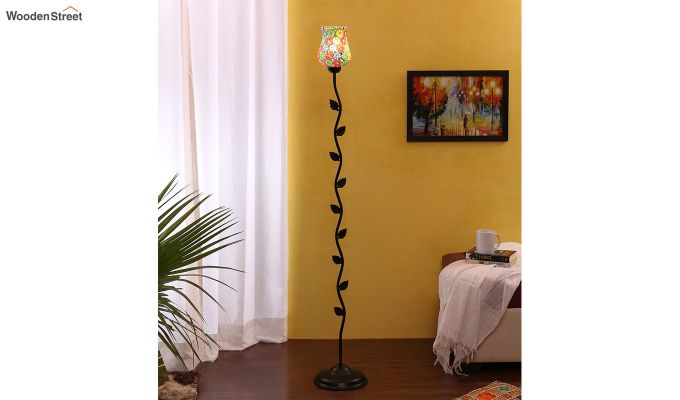 Beanstalk Flower Shell Glass Floor Lamp-1