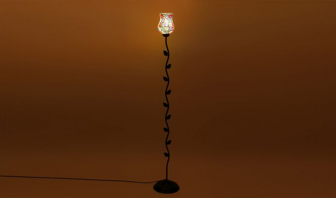 Beanstalk Flower Shell Glass Floor Lamp-3