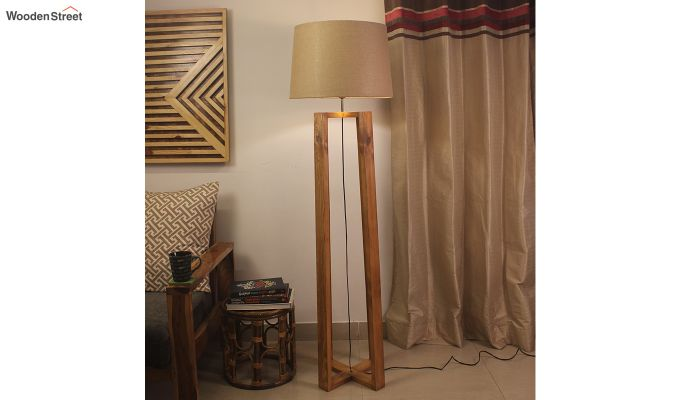 Criss Cross Brown Wooden Floor Lamp-1