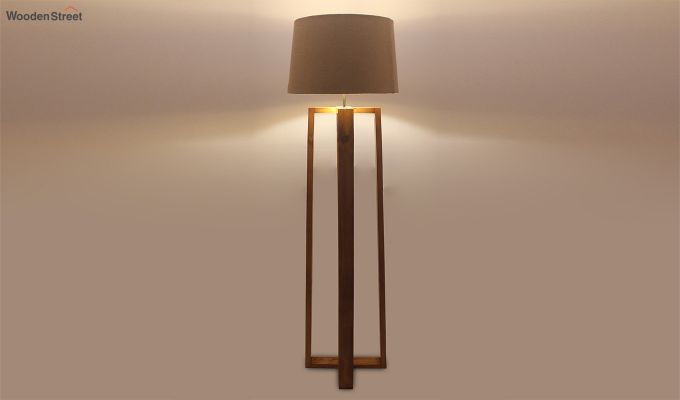 Criss Cross Brown Wooden Floor Lamp-2