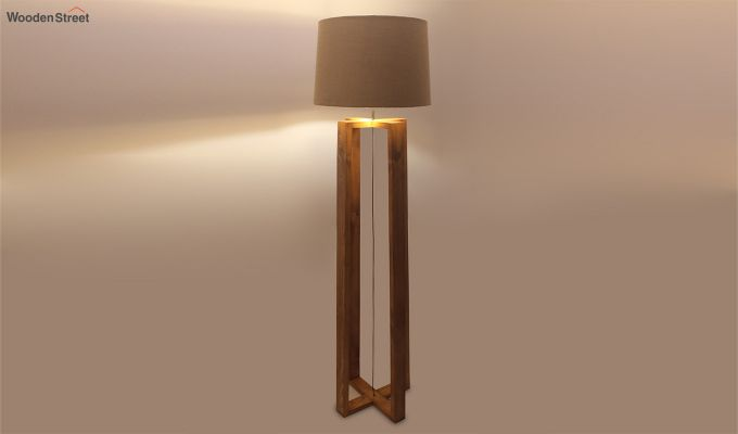 Criss Cross Brown Wooden Floor Lamp-3