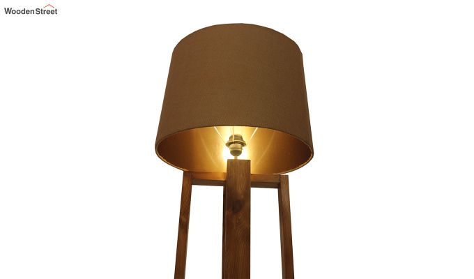 Criss Cross Brown Wooden Floor Lamp-5
