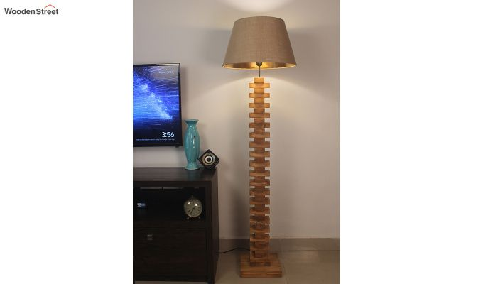 Jenga Brown Wooden Floor Lamp-1