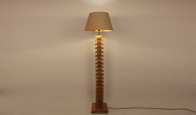 Jenga Brown Wooden Floor Lamp-4