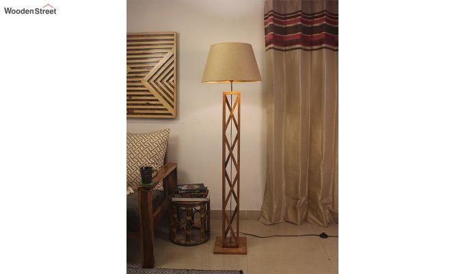 Symmetric Brown Wooden Floor Lamp-1