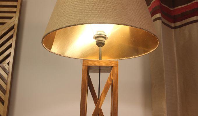 Symmetric Brown Wooden Floor Lamp-2