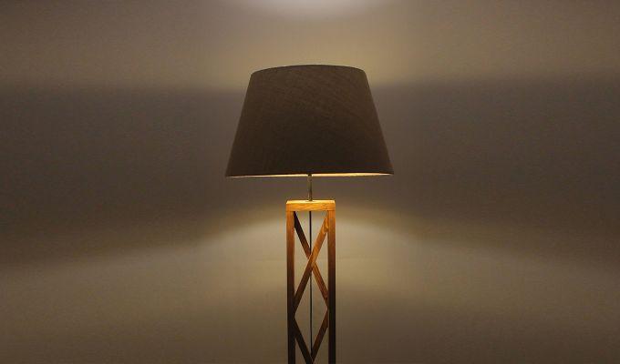 Symmetric Brown Wooden Floor Lamp-3