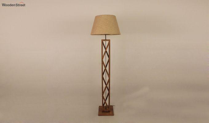 Symmetric Brown Wooden Floor Lamp-4