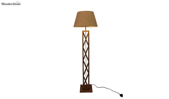 Symmetric Brown Wooden Floor Lamp-5