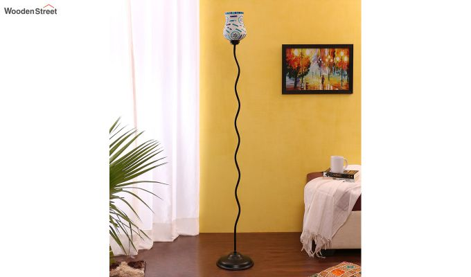 Vine Snowflake Blues Glass Floor Lamp-2