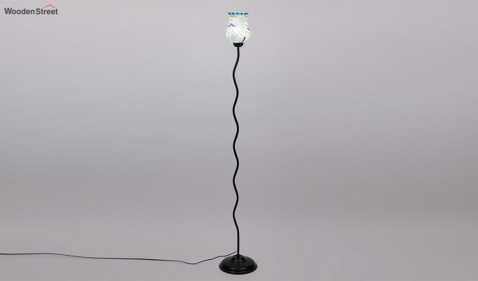 Vine Snowflake Blues Glass Floor Lamp-4