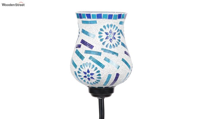 Vine Snowflake Blues Glass Floor Lamp-6